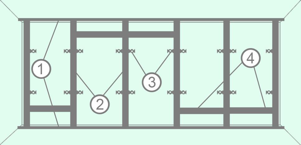 Каркас из потолочного профиля для гипсокартона на стену