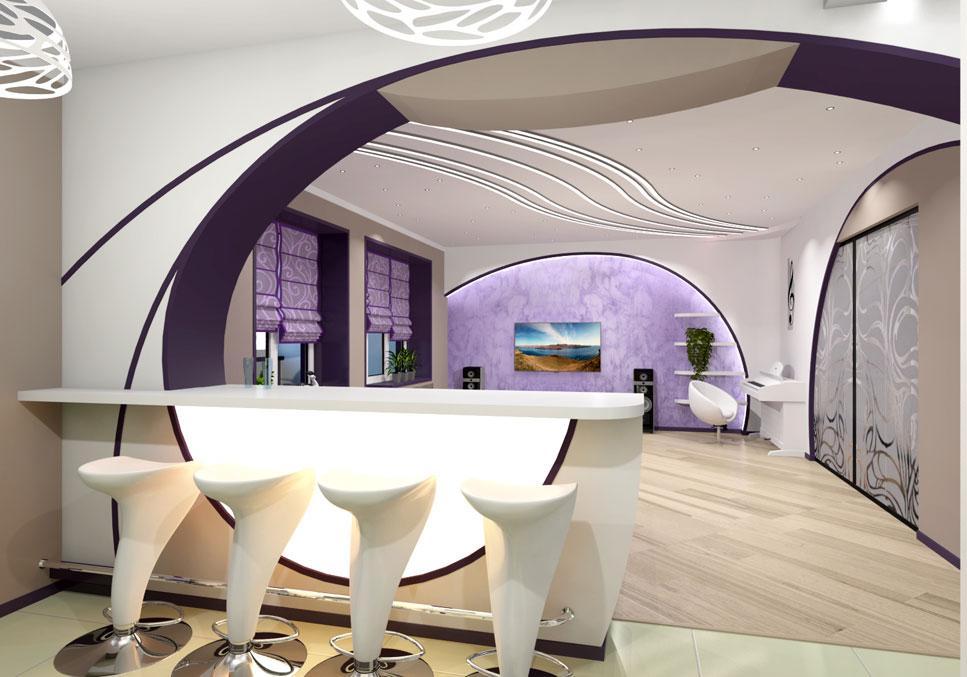 Фото арки из гипсокартона над барной стойкой