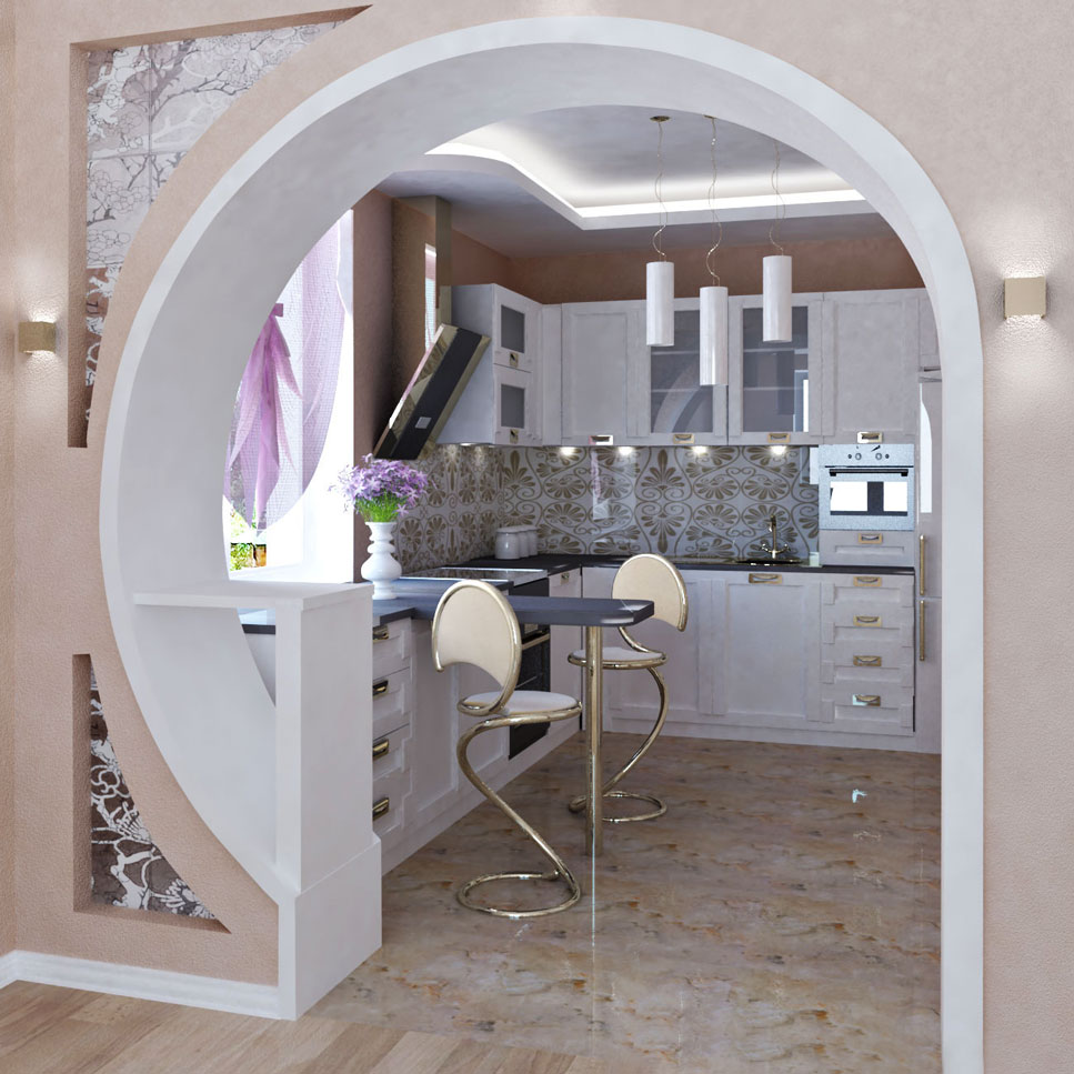 Фото гипсокартонной арки из кухни в гостинную