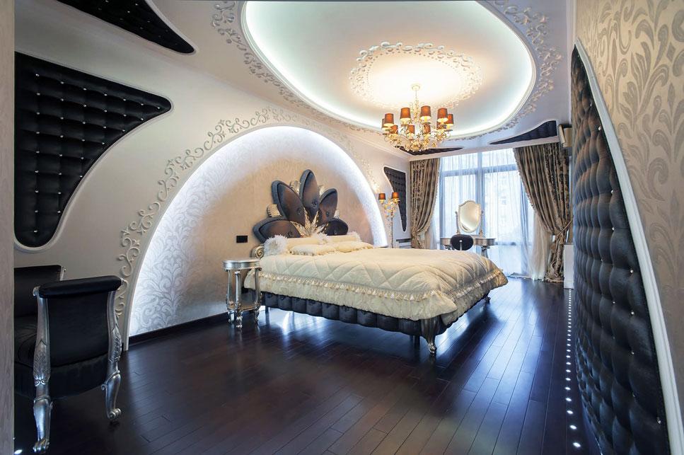 Фото арки из гипсокартона над кроватью