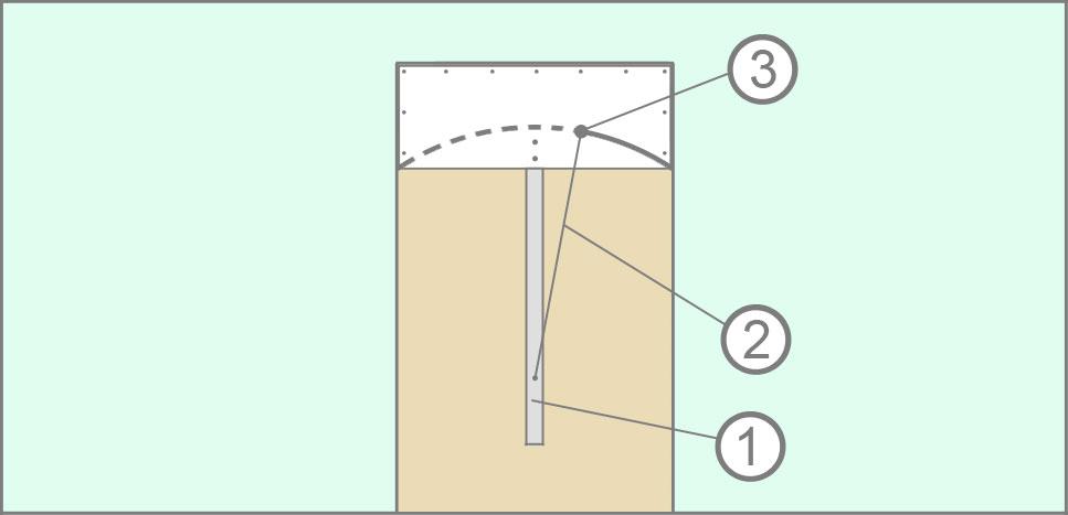 """Разметка дуги арки методом """"Циркуля"""""""