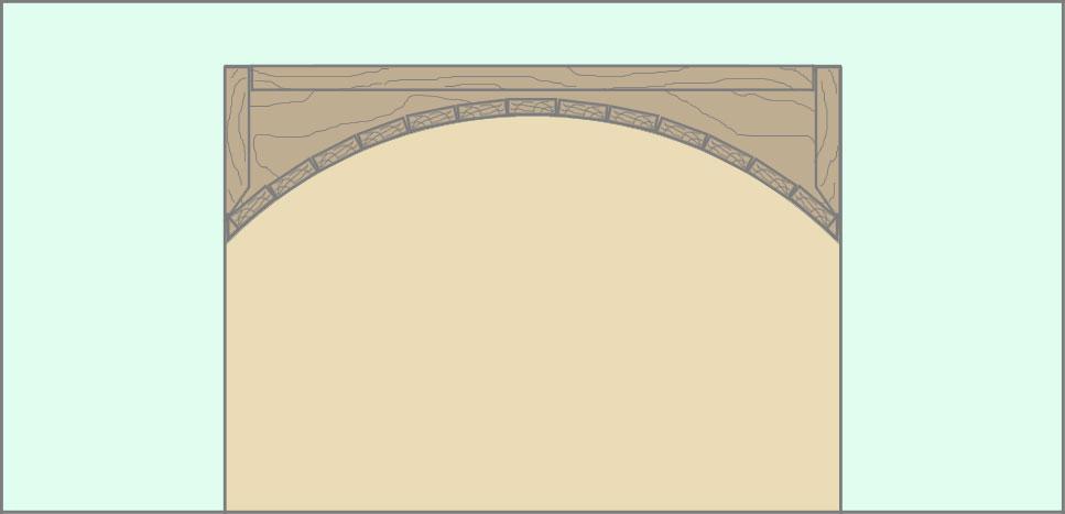Каркас для арки из бруса, вид с внутренней стороны