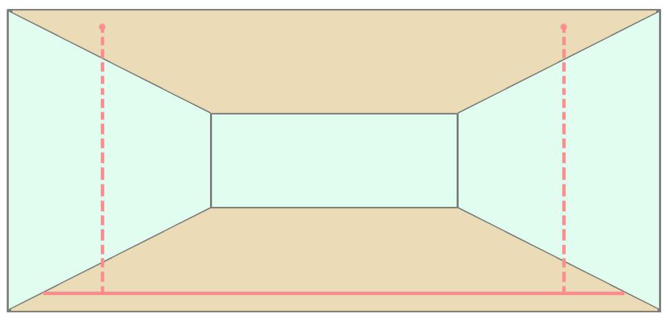 Чертим разметку на полу и переносим точки на потолок