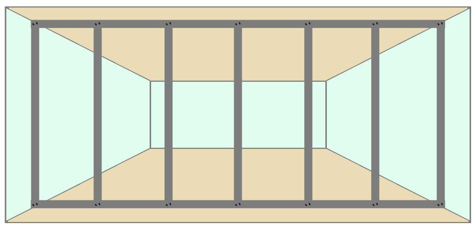 Расчёт количества комплектующих каркаса перегородки