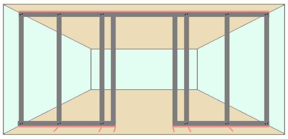 Монтаж вертикальных стоек проёма