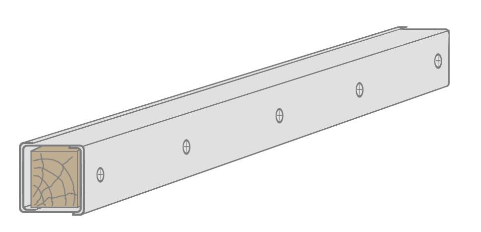 Дверная стойка из двух CW-профилей, усиленная деревянным брусом